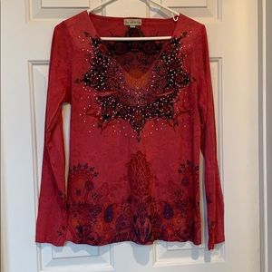 Festive soft cranberry/pomegranate top. NWOT
